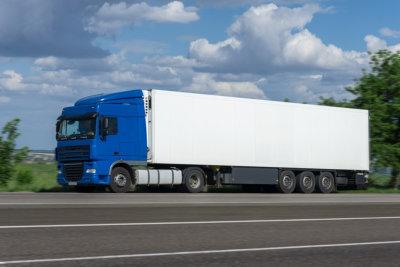 blue large truck