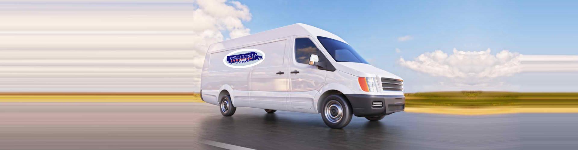 white van on move